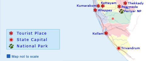 Kerala Map, Kerala Tourist Map, Tourist Map of Kerala