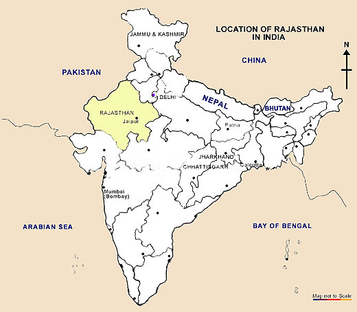 Map Of Rajasthan India Location Map, Location Map of Rajasthan, Location of Rajasthan in