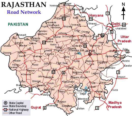 Road Map Of Rajasthan Rajasthan Maps, Maps of Rajasthan, Road Map, Travel Map of Rajasthan