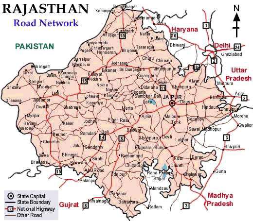 Rajasthan Map Road Road Map, Rajasthan Road Map, Road Map of Rajasthan