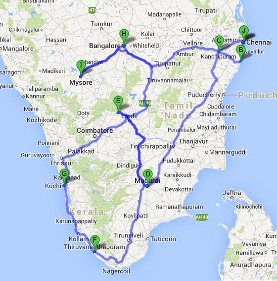 Southern Railway Map Of India.South India Train Tour South India Tour By Train South India By Rail