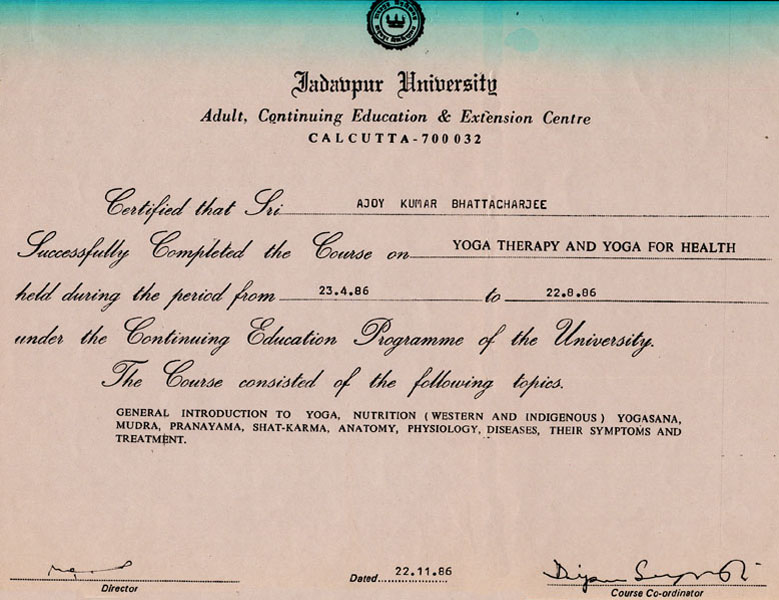 Yoga Therapy and Yoga for Health, Certificate from Calcutta